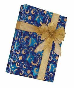 Star of David Swirled Hanukkah Gift Wrapping Paper Flat Shee