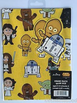 STAR WARS WRAPPING PAPER by HALLMARK 2 GIFT WRAP& 2 TAGS PAC