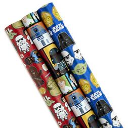Hallmark Star Wars Wrapping Paper with Cut Lines Pack of 3,