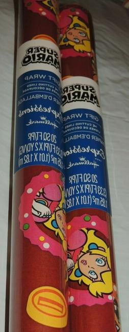 SUPER MARIO WRAPPING PAPER  40 SQ FT = 2 ROLLS OF 20 SQ FT