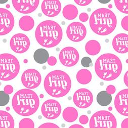 Team Girl Baby Pink Footprints Premium Gift Wrap Wrapping Pa