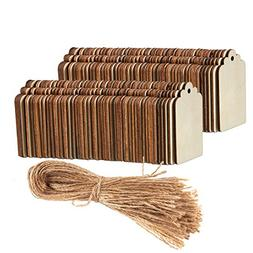 Unfinished Wood Tag - 100-Pack Wooden Gift Tags with Jute Ro