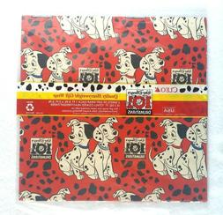 Vintage 101 Dalmatians Gift Wrap Wrapping Paper 2 Sheets Red