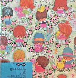 Vintage 1970's Children's Gift Wrap Wrapping Paper Boy Girl