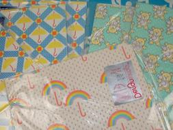 Vintage 80s Baby Shower Wrapping Paper Sheets Boy Girl Rainb
