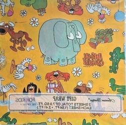 Vintage Animal Crackers Gift Wrap Wrapping Paper Rog Bollen