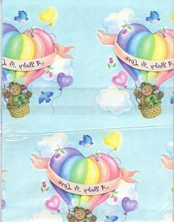 Vintage Baby Shower Gift Wrap Boy Girl Teddy Bear Heart Rain