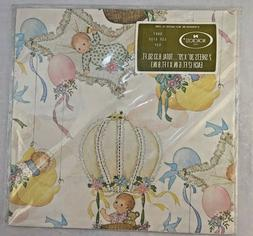 Vintage Norcross Baby Shower Wrapping Paper Gift Wrap Girl O