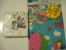 Vintage Barney Baby Bop Gift Wrap Wrapping Paper and Napkins
