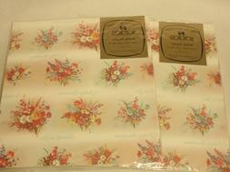 """Vintage Norcross """"Birthday Bouquets"""" Gift Wrap Wrapping"""