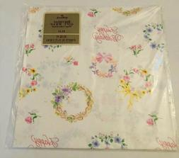 Vintage Hallmark Birthday Floral Wreath Gift Wrapping Paper