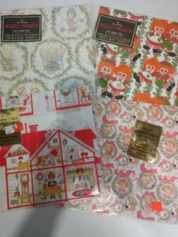 Vintage Christmas Wrapping Paper Lot Of 4 pkg. 2 Hallmark &