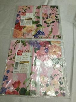 Vintage Hallmark Floral Pink Striped Paper Gift Wrap Two She