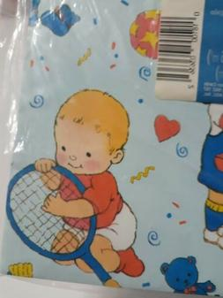 Vintage Little Baby Boy Gift Wrapping Paper Baby Shower Spor