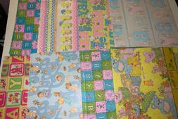 VINTAGE Lot Baby GIFT WRAPPING PAPER Newborn Boy Girl Toddle