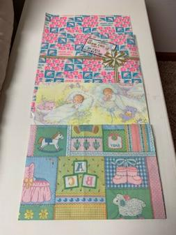 Vintage Lot Of 3 Baby Shower Gift Wrapping Paper One Unopene