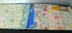 Vintage Lot Of 9 Baby Shower Gift Wrapping Paper Some Unopen