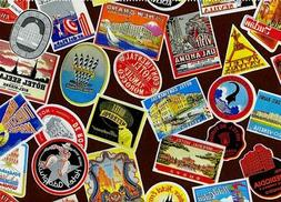 """Vintage Luggage Label Gift Wrap - Wrapping Paper - 30"""" x 6'"""