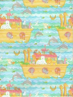 Vintage Noah's Ark Gift Wrap Wrapping Paper Baby Shower Birt