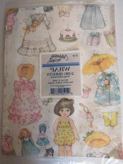 Vintage Paper Doll Gift Wrap Girls Birthday Wrapping Paper N