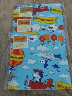 Vintage Peanuts  Graduation Gift Wrap, Wrapping Paper Lot of