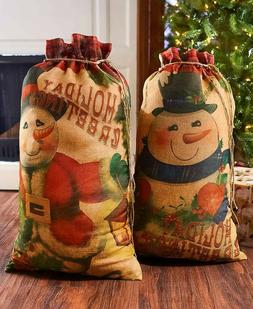 Vintage Snowman Set of 2 Oversized Gift Sack Bags Christmas