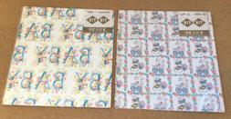 Vintage Wrapping Paper Lot BABY - Baby Shower Pink Blue Flow
