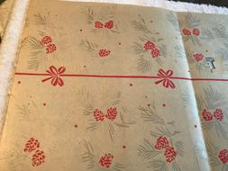 """VTG 1940s-50s Christmas Wrapping Paper 18"""" x 29.5"""" Silver &"""