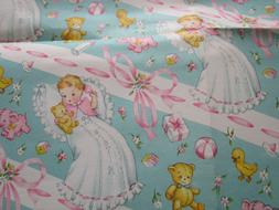 Vtg 50's Pink Baby Girl Gift Wrap Wrapping Paper Sheet w/Sea