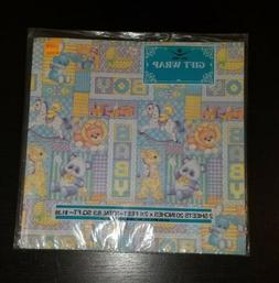 Vtg Baby Shower Baby Boy Wrapping Paper