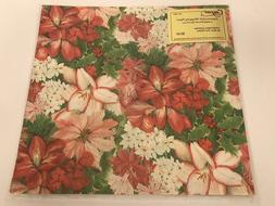 Vtg Caspari Wrapping Paper CHRISTMAS GARDEN Mary Ann Perkins