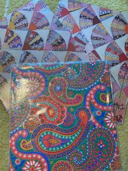 Vtg. Gift Wrapping  Paper Fan Quilt & Paisley Prints NOS