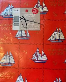 Vtg. Sail Boat Gift Wrapping Paper American Greetings NOS