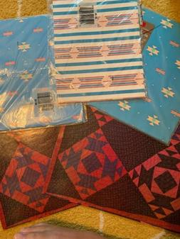 Vtg. Southwest Print Gift Wrapping Paper Lot NOS