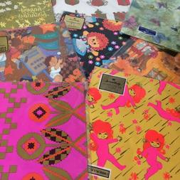 Vtg Wrapping Paper Lot 8 Print 60's Var Yrs Can be used 4 Cr