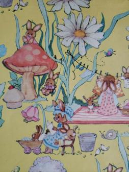 Vtg Yellow Wrapping Paper Gift Wrap Spring Mushrooms Bunnies