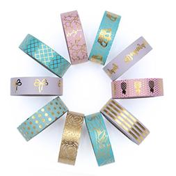 Washi Tape Set of 10 Cute Gold Foil Rolls - Extra Long 33 fe