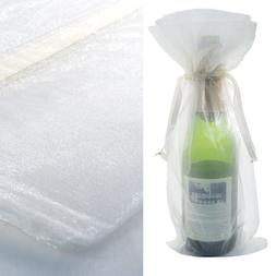 100x White Bottle & Wine Organza Favor Gift Bags 6.5x15 inch