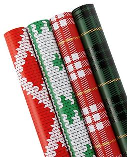WRAPAHOLIC Gift Wrapping Paper - Plaid, Knit Heart, Knit Tre