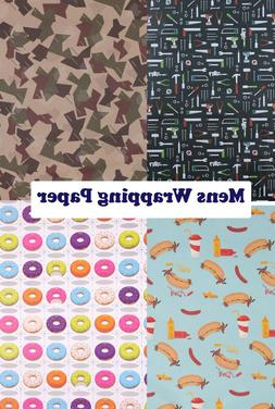Wrapping Gift Wrap Paper & Tag 6 Designs Mens Fathers Day To