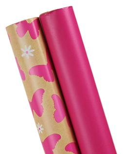 Wrapping Paper, 2-Roll, Pink/Butterflies Designs