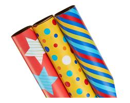 American Greetings Wrapping Paper, Colorful Stripes, Dots, &