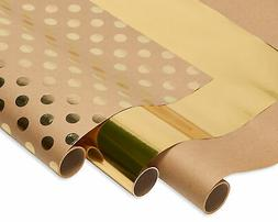 American Greetings Wrapping Paper Kraft and Gold Polka Dots,