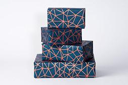 Wrapping Paper Organic Geometry / Navy-Copper / 3 Sheets