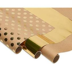 American Greetings 6148843 3 Roll Wrapping Paper, Kraft and
