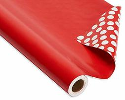 American Greetings Wrapping Paper Reversible Red and Polka D